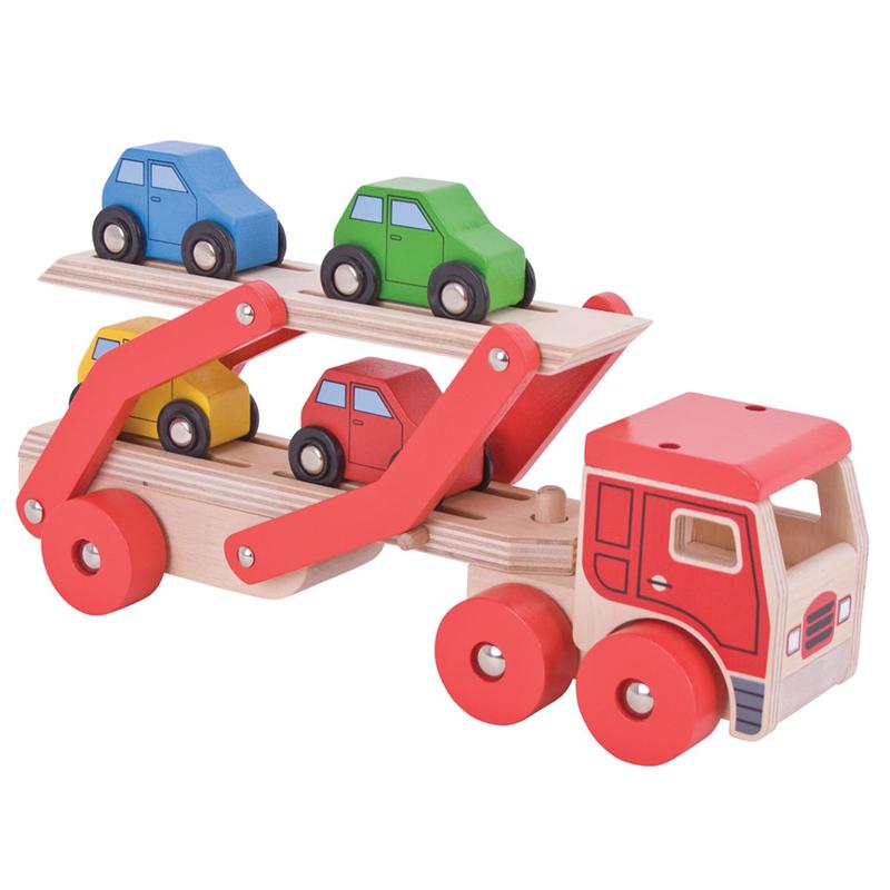 Bigjigs Toys drevené hračky - Kamión s autami