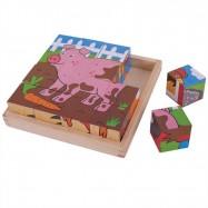Bigjigs Toys obrázkové kocky kubusy - Farma - 9 kociek