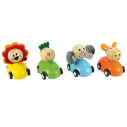 Bigjigs Toys - Kolorowy drewniany samochód ze zwierządkiem