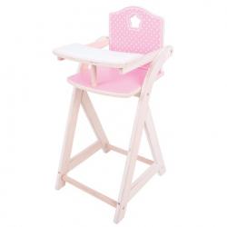 Bigjigs Toys - Dřevěná krmící židlička pro panenky