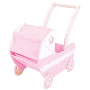 Bigjigs Toys - Dřevěný kočárek pro panenky