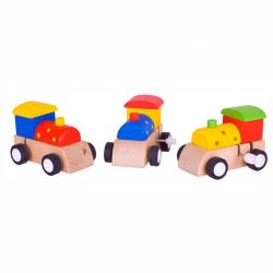 Bigjigs Toys - Kolorowa lokomotywa z napędem