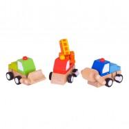 Drevené hračky - Farebná autíčka na naťahovanie