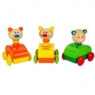 Bigjigs dřevěné hračky - Barevné dřevěné auto se zvířátkem