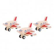 Bigjigs Toys drevené hračky - Drevené naťahovacie lietadlo