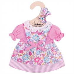 Bigjigs Toys ružové kvetinové šaty pre bábiku 25 cm