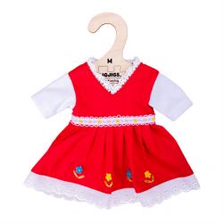 Bigjigs Toys Červené kvetinové šaty pre bábiku 34 cm