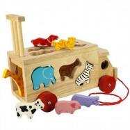 Bigjigs Toys drevené auto so zvieratkami
