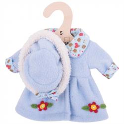 Bigjigs Toys modrý kabátik s klobúčikom pre bábiku 25 cm