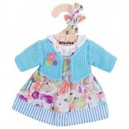 Sukienka dla lalki szmacianej w kwiaty z turkusowym sweterkiem. 25 cm.