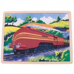 Bigjigs Toys Dřevěné puzzle historický vlak Vévodkyně z Hamiltnu 35 dílků