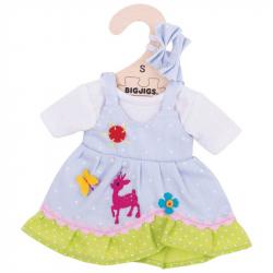 Bigjigs Toys modré bodkované šaty s jeleňom pre bábiku 25 cm