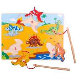 Bigjigs Toys Drevené chytanie dinosaurov