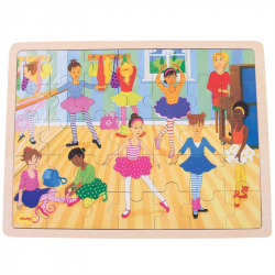 Bigjigs Toys drevené puzzle baletky 35 dielikov
