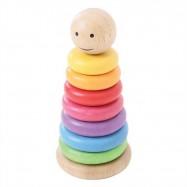 Bigjigs Toys - Drewniana tęczowa piramida