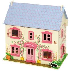 Bigjigs Toys dřevěný růžový domeček pro panenky