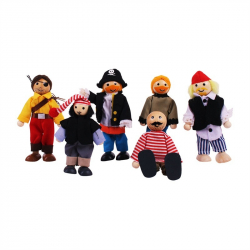 Bigjigs Toys bábiky - Set piráti 6ks
