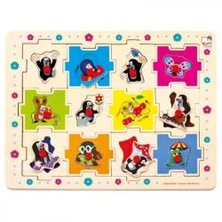 Bino - Drevené puzzle Krtko tvary, 24 dielikov