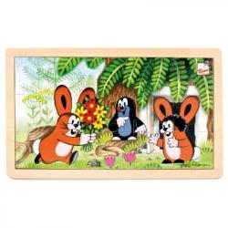 Bino - Dřevěné puzzle- Krteček a zajíčci