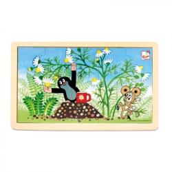 Bino - Dřevěné puzzle - Krteček a heřmánek