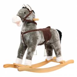Bino Plyšový hojdací kôň sivý