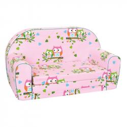 Bino - Mini kanapa dla dzieci, różowa, sowy