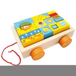 Bino - Drevený vozík s kockami, 19 ks