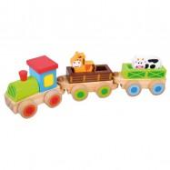 BINO Drewniany pociąg ze zwierzątkami 8 elementów