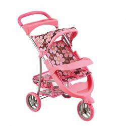 Bino Športový kočík pre bábiky ružový
