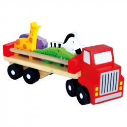 Drewniana ciężarówka ze zwierzętami