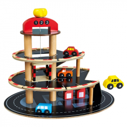 Bino - Parkovisko drevené s výťahom, 4 autíčka