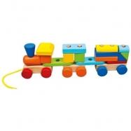 BINO Pociąg z 2 wagonami drewniany