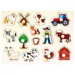 Bino - Drevené puzzle farma, 14 dielikov