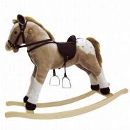 BINO Pluszowy Koń na biegunach , bezowy