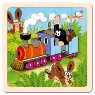 Drevené hračky - Skladačka - Krtko a mašinka
