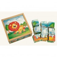 Dřevěné hračky - Obrázkové  kostky - Divoká zvířata 9 ks