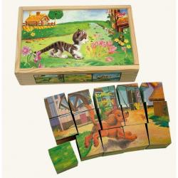 Dřevěné hračky - Obrázkové kostky - Domácí zvířátka 15 ks