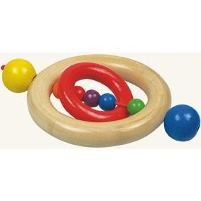 Dřevěné hračky - baby - Kroužek do ruky korálky s kroužkem