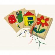 Dřevěné hračky-motorické hry- Provlíkací obrázkové destičky