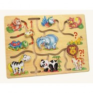 Drevené hračky - Motorický labyrint- Najdi hlavu zvieratka