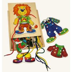 Drevené hračky-motorickej hry- Lvíček Leo, prvé šitie