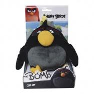 Angry Birds plyšová hračka Bomb s přívěškem, 14 cm