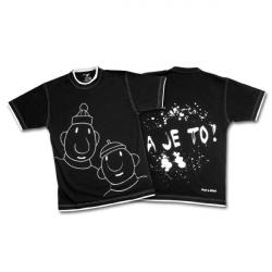 Tričko krátky rukáv čierna - pánska kolekcia Pat a Mat - veľkosť XL
