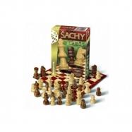 Šach cestovný spoločenská hra drevo v krabičke