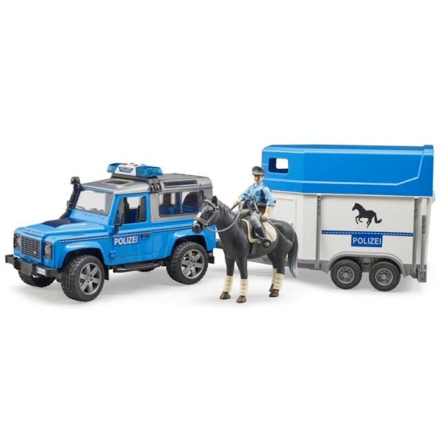 Bruder Policajné Land Rover s prepravníkom na koňa a policajtom