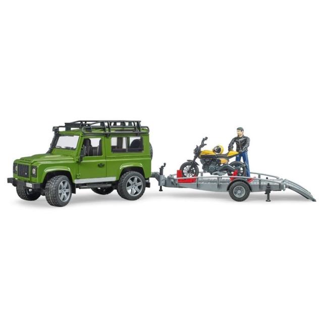 Bruder Land Rover s prívesom, motorkou a figúrkou mierka: 1:16