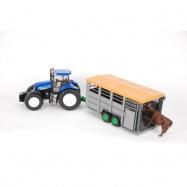 Bruder -  Traktor New Holland T8040 s přívěsem na zvířata s figurkou krávy