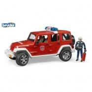 Jeep Wrangler straż pożarna z figurką Bruder