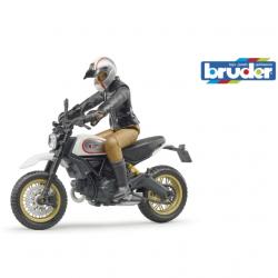 Bruder 63051 BWORLD Motocykl Scrambler Ducati Cafe Racer s jezdcem