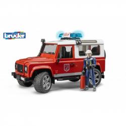 Land Rover Defender straż pożarna ze strażakiem Bruder